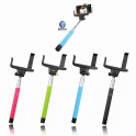 Telescopic selfie stick with Bluetooth triggers in the handle