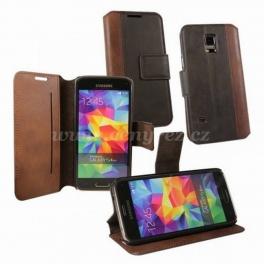 Pouzdro typu kniha OZBO Calico pro Samsung Galaxy S5 Mini, PU kůže, hnědé