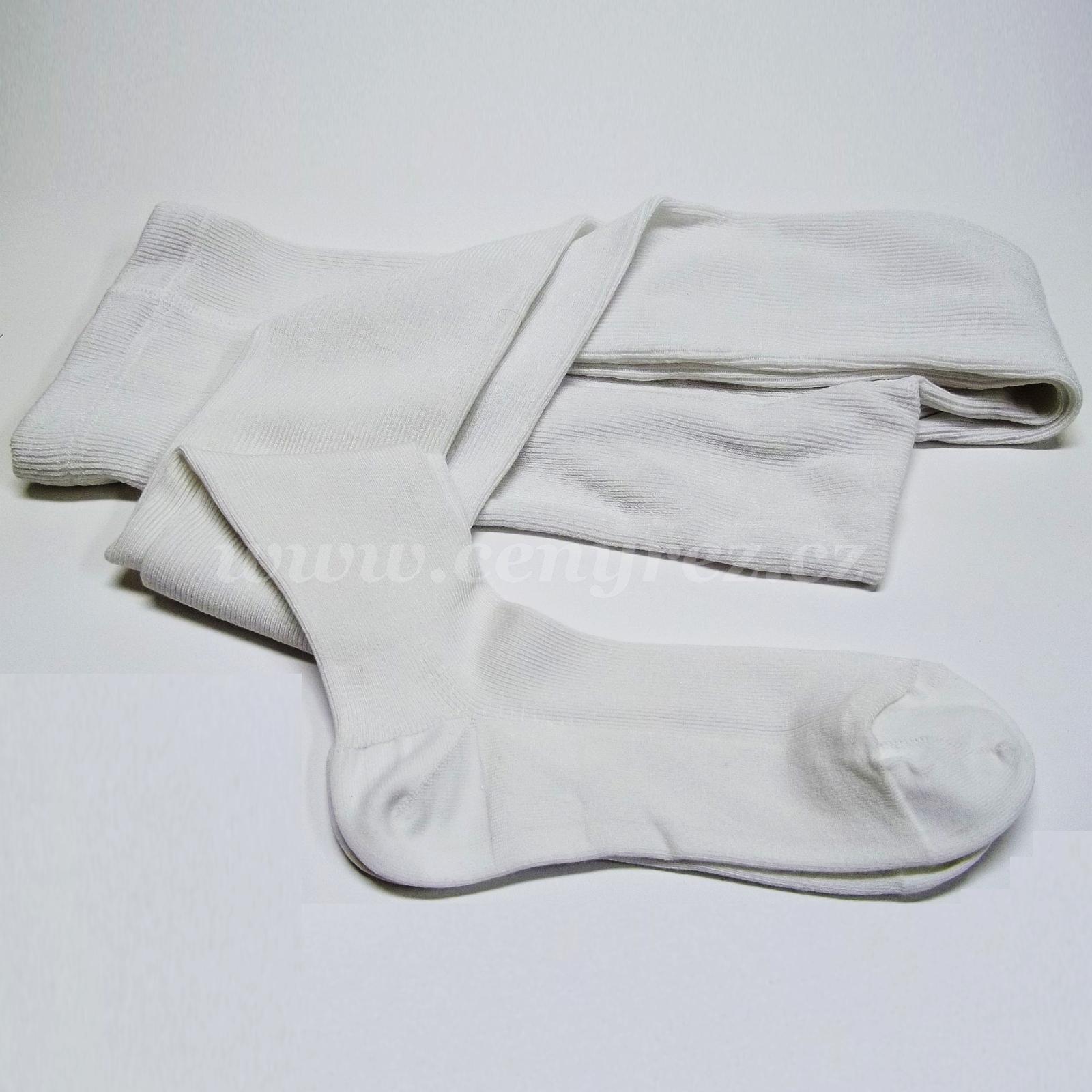 Bambusové žebrované punčocháče - bílá